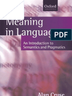 Meaning in Language an Introduction to Semantics and Pragmatics (Oxford Textbooks in Linguistics)