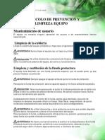 Protocolo prevención y limpieza equipo SystemSURE