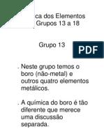 Química dos Elementos dos Grupos 13 a 18