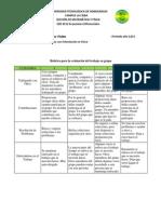 Rubrica para evaluación del trabajo en grupos