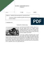 READING COMPREHENSION TEST 8vo básico 24 de mayo
