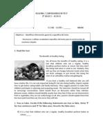 READING COMPREHENSION TEST 8vo básico 31 de mayo FILA B