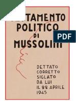 Benito Mussolini. Il Testamento Politico (1945)