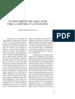 Un documento del siglo XVIII para la historia y la filología.