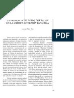 La presencia de Pablo Corbalán en la crítica literaria española.