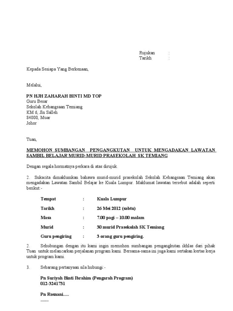 Surat Mohon Pengangkutan