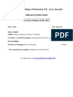 Admission Test Paper Format B.Ed/M.Ed (Govt. College of Education F.B. Area karachi)