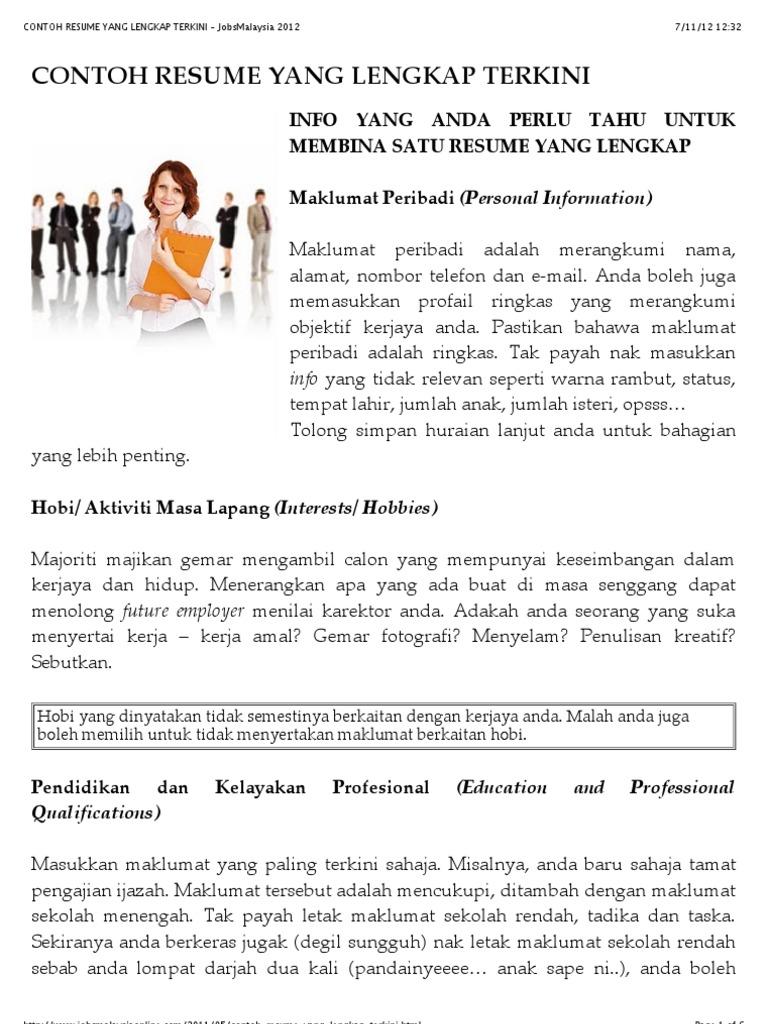 Contoh Resume Yang Lengkap Terkini Jobsmalaysia 2012