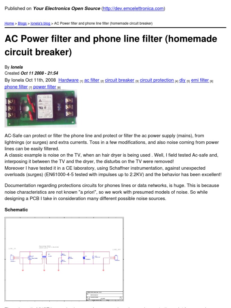 Your Electronics Open Source Ac Power Filter And Phone Line Circuit Breaker Homemade 2008 11 12 Physical Quantities Electrical Equipment