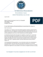 Letter From Springfield Mayor Sarno to license commission re
