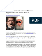 The Blind Sheikh Omar Abdel Rahman Influences Egyptian Election From a Federal Prison Cell