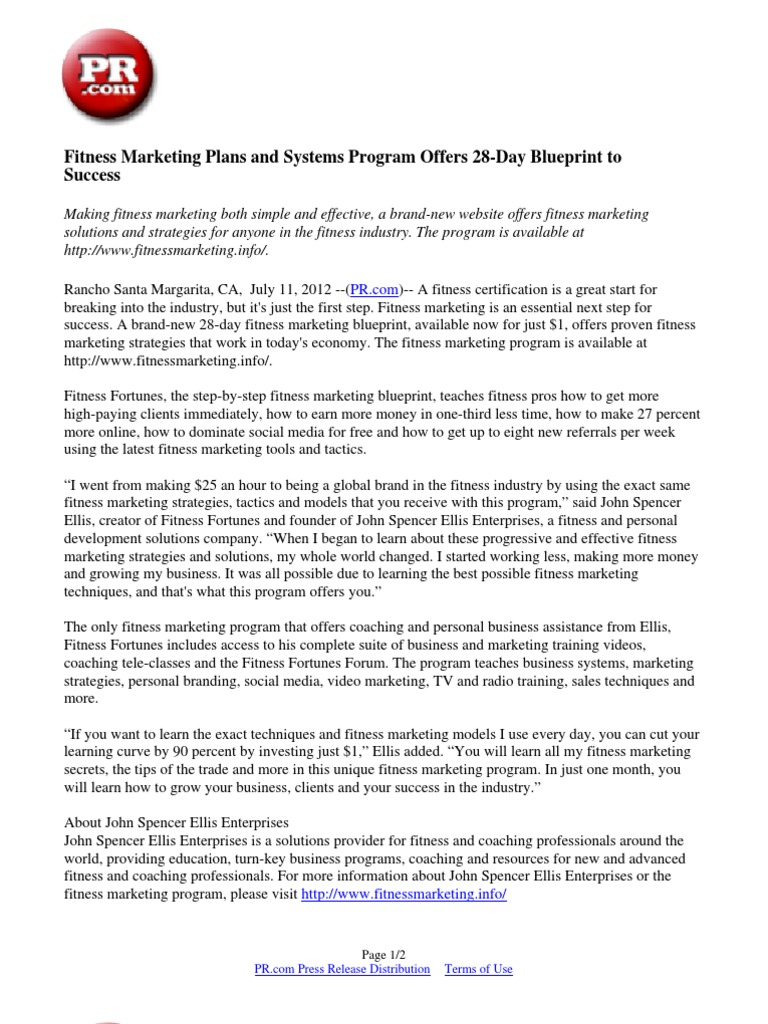 Blueprint program online interesting blueprint program online fitness marketing plans and systems program offers day blueprint to success press release marketing with blueprint program online malvernweather Gallery
