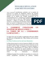 resumé L'INDISPENSABLE RÉGULATION DES MARCHÉS FINANCIERS