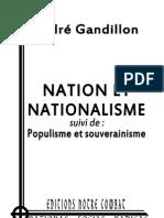 Gandillon André, Nation et nationalisme suivi de Populisme et souverainnisme