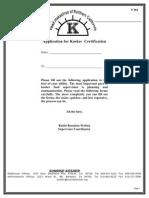 application for kosher certification - sunrise kosher