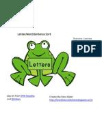 Frog Letters, Words, Sentences Sort