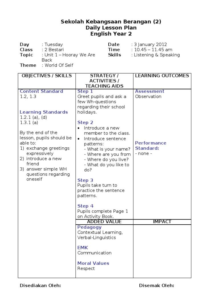 Rph Bi Y2 Lesson Plan Educational Assessment