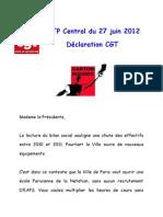 Déclaration CGT CTP JUIN  2012