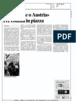 """""""O tribunale o Austria"""" - Tre confini in piazza. Messaggero veneto 12 Luglio 2012"""