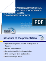 Participation of Civil Society and Citizens Kosovo, BCSDN Workshop 4 July 2012