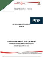 Informe de Rendición de Cuentas - Primer Semestre de 2012