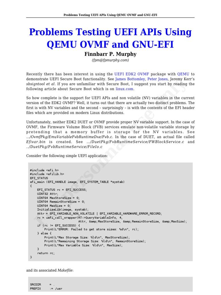 Problems Testing UEFI APIs Using QEMU OVMF and GNU-EFI | Operating