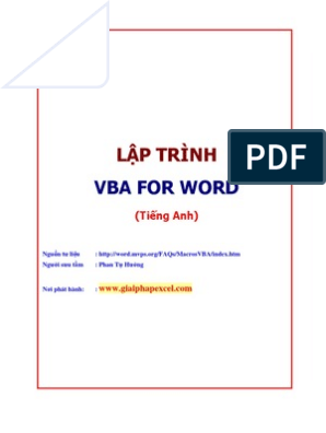 Lap Trinh VBA for Word | Visual Basic For Applications