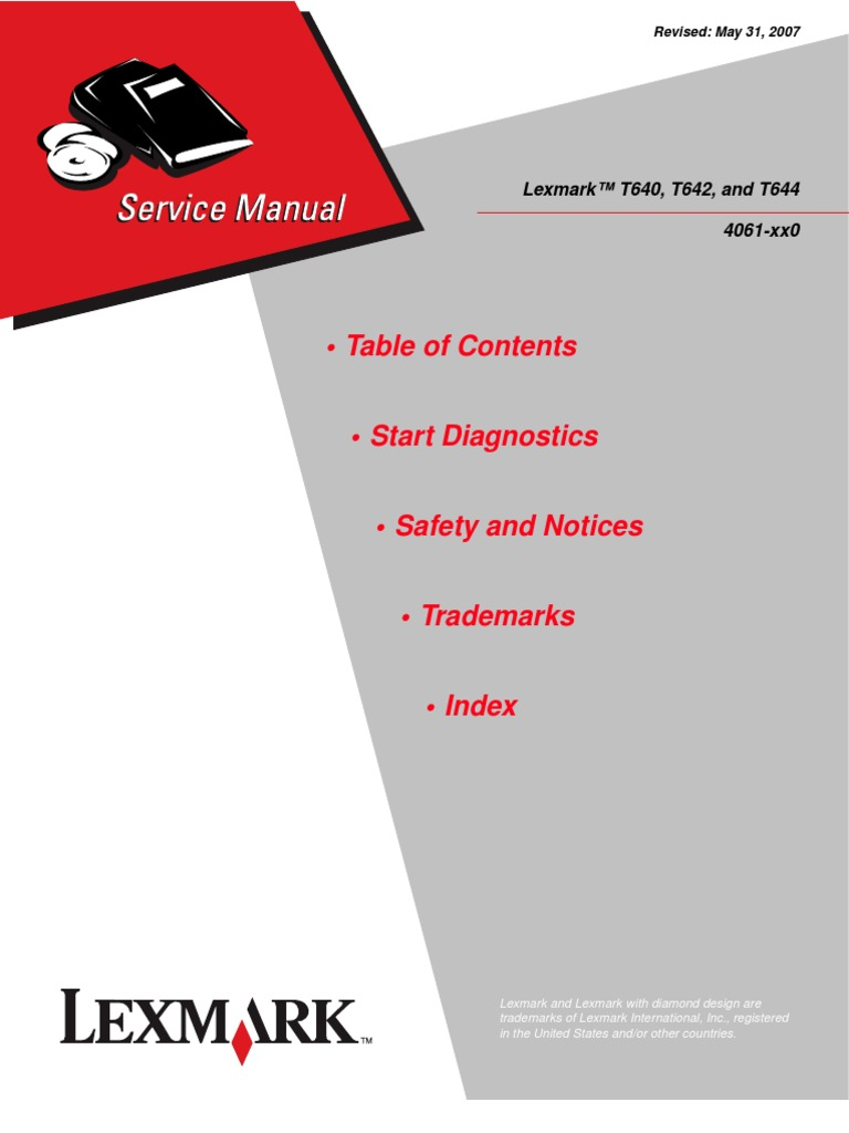 lexmark t640 t642 and t644 service and repair manual