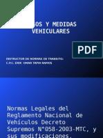 Pesos y Medidas Vehiculares 2012 en Peru
