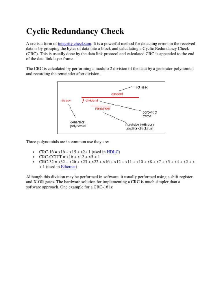 Cyclic Redundancy Check | Computer Data | Electronics