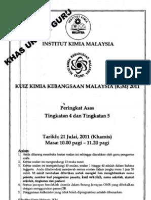 Kuiz Kimia Kebangsaan K3m 2011