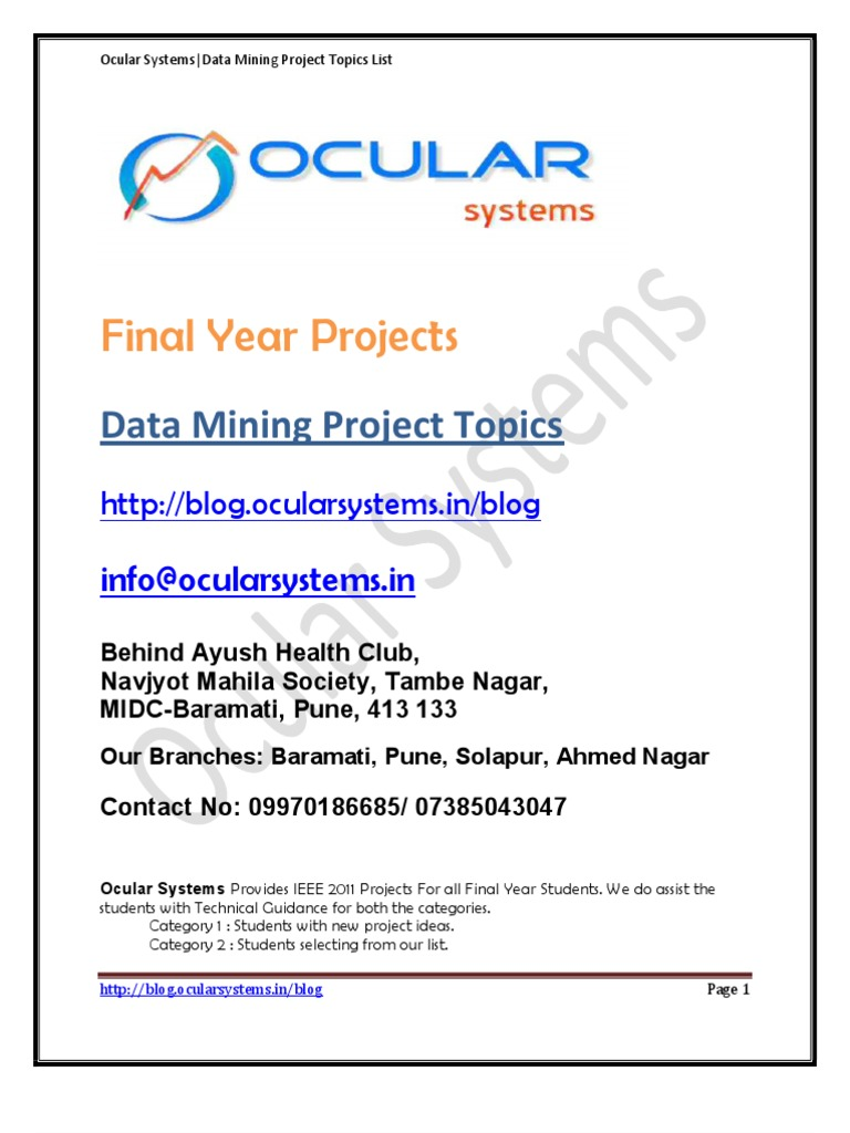 Data Mining IEEE Project Topics List Ocularsystems in | Cluster