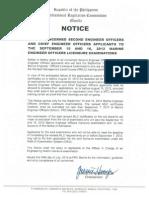 Marine Engineer Officers Licensure Examinations