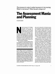 The Assessment Mania and Planning