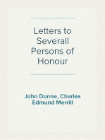 Letters to Severall Persons of Honour
