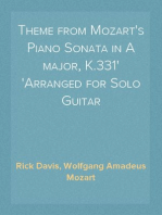 Theme from Mozart's Piano Sonata in A major, K.331 Arranged for Solo Guitar