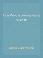 For Whom Shakespeare Wrote