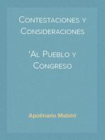 Contestaciones y Consideraciones Al Pueblo y Congreso Norte-Americanos