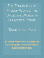 The Englishing of French Words; the Dialectal Words in Blunden's Poems
