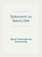Statement on Bahá'u'lláh