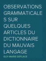 Observations grammaticales sur quelques articles du Dictionnaire du mauvais langage