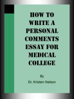 How to Write a Personal Comments Essay for Medical College