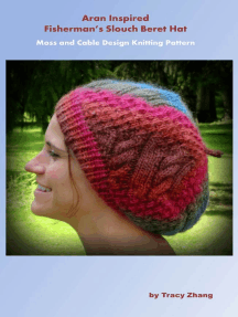 Aran Inspired Fisherman's Slouch Beret Hat: Cable and Moss Design Knitting Pattern
