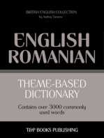 Theme-Based Dictionary: British English-Romanian - 3000 words