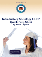 Introductory Sociology CLEP Quick Prep Sheet