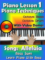 Piano Lesson #1 - Piano Techniques - Octave Bass, Octave Drums with Video Demos - Song