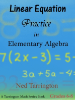 Linear Equation Practice in Elementary Algebra, Grades 6-8