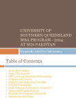 University of Southern Queensland  MBA PROGRAM