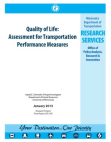 Quality of Life: Assessment for Transportation Performance Measures