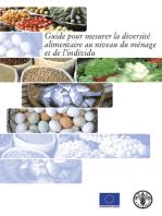 Guide pour mesurer la diversité alimentaire au niveau du ménage et de l'individu